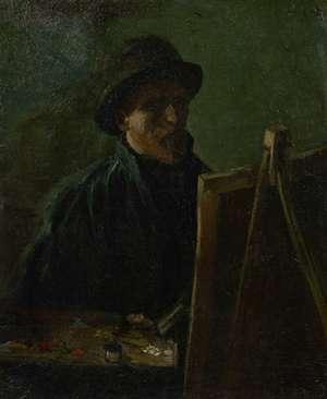 Obraz olejny - van Gogh - Autoportret w ciemnym kapeluszu ze sztalugą