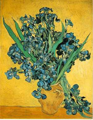 Obraz van  Gogha - Wazon z irysami na żółtym tle - ase with Irises Against a Yellow Background