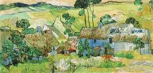 Obraz van Gogha - Chaty kryte strzechą pod wzgórzem - Farms near Auvers