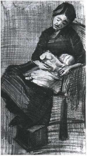 Rysunek van Gogha  - Sien karmiąca dziecko